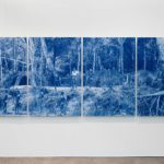 Anthropology (a proximity of distance) I – IV  2017  Wax pastel, wash with oil pigment, watercolour and pencil on paper mounted on aluminium 146.0 x 392.0 cm (4 panels, 146.0 x 98.0 cm each) Private collection, Brisbane Photography: Mim Stirling, 2017